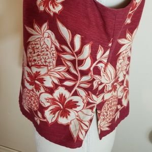 Tommy Bahama Tops - Tommy Bahama Tropical Pinapple Floral Silk Tank